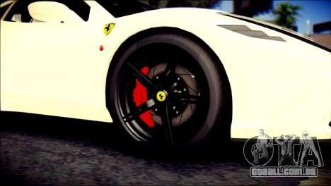 Ferrari 458 Speciale 2015 para GTA San Andreas traseira esquerda vista