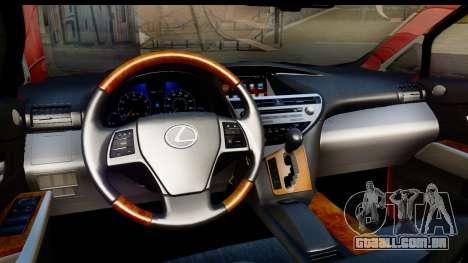 Lexus RX450h para GTA San Andreas vista interior