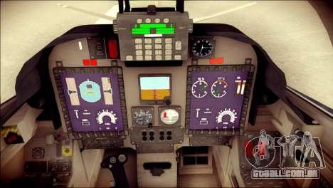 Embraer EMB-314 Super Tucano E para GTA San Andreas vista traseira