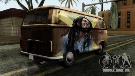 Volkswagen T2 Bob Marley para GTA San Andreas esquerda vista