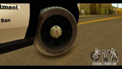 Chevrolet Suburban 2015 SAPD para GTA San Andreas traseira esquerda vista
