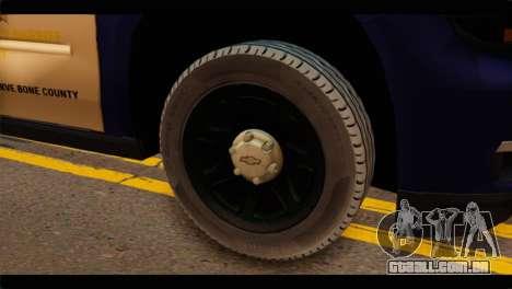 Chevrolet Suburban 2015 BCSD Sheriff para GTA San Andreas traseira esquerda vista