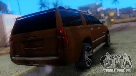 Chevrolet Suburban 2015 para GTA San Andreas esquerda vista
