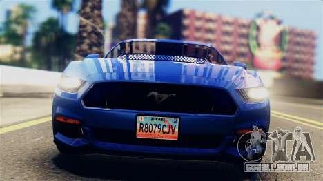 Ford Mustang GT 2015 Stock Tunable v1.0 para GTA San Andreas traseira esquerda vista