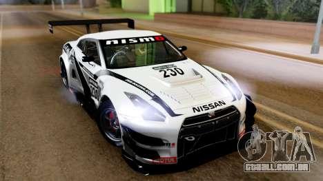 Nissan GT-R (R35) GT3 2012 PJ4 para GTA San Andreas esquerda vista