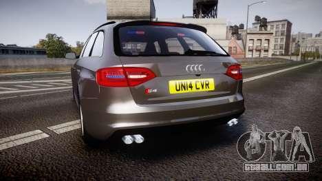 Audi S4 Avant Unmarked Police [ELS] para GTA 4 traseira esquerda vista