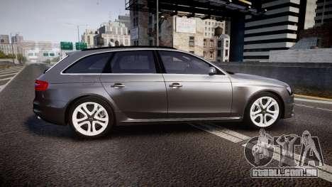 Audi S4 Avant Unmarked Police [ELS] para GTA 4 esquerda vista