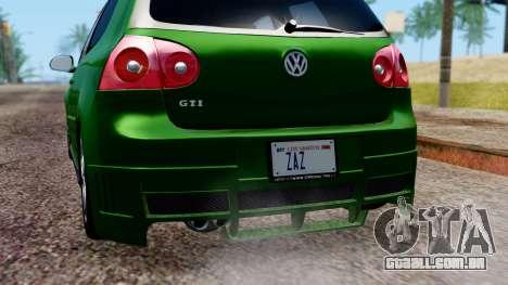 Volkswagen Golf Mk5 GTi Tunable PJ para GTA San Andreas vista inferior