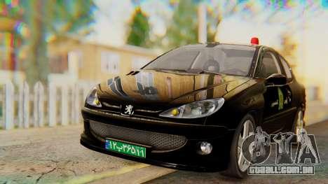 Peugeot 206 Coupe Police para GTA San Andreas vista direita