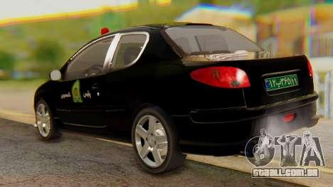 Peugeot 206 Coupe Police para GTA San Andreas traseira esquerda vista
