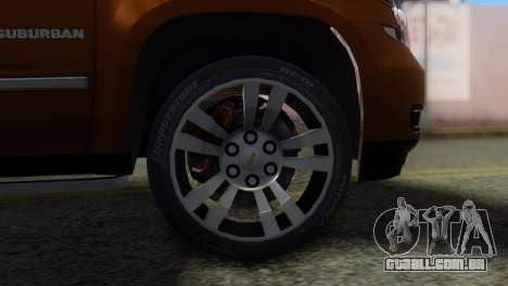 Chevrolet Suburban 2015 para GTA San Andreas traseira esquerda vista