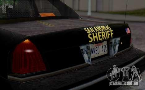 Ford Crown Victoria Sheriff para GTA San Andreas vista traseira