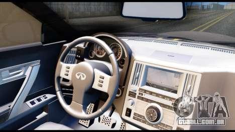 Infiniti FX45 para GTA San Andreas vista traseira