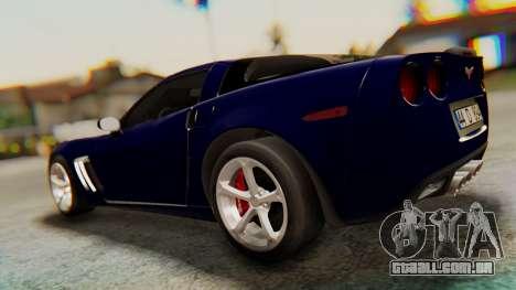 Chevrolet Corvette Sport para GTA San Andreas traseira esquerda vista