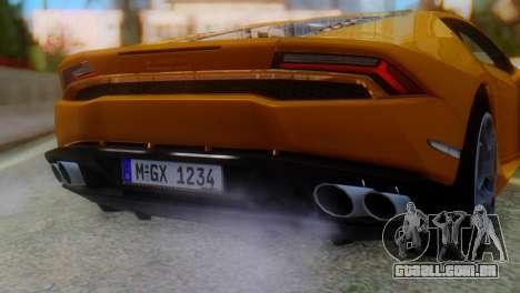 Lamborghini Huracan 2015 Horizon Wheels para GTA San Andreas vista traseira
