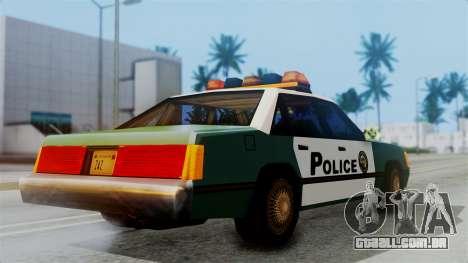 SAPD Cruiser para GTA San Andreas traseira esquerda vista