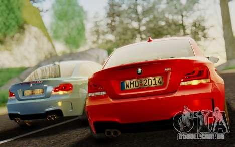 BMW 1M E82 para GTA San Andreas traseira esquerda vista