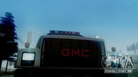 GMC Topkick Towtruck para GTA San Andreas traseira esquerda vista