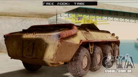 БТР-70 Ferrugem do S. T. A. L. K. E. R. para GTA San Andreas esquerda vista