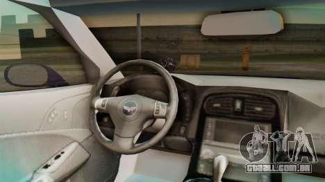 Chevrolet Corvette Sport para GTA San Andreas vista traseira
