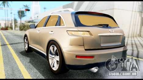 Infiniti FX45 para GTA San Andreas esquerda vista