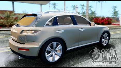 Infiniti FX45 para GTA San Andreas traseira esquerda vista