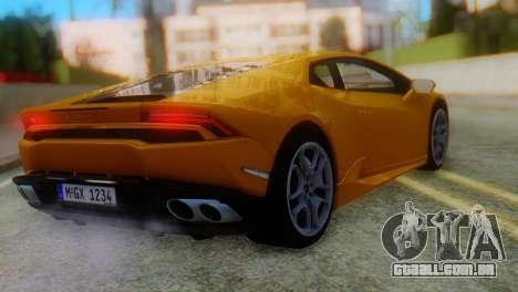 Lamborghini Huracan 2015 Horizon Wheels para GTA San Andreas esquerda vista