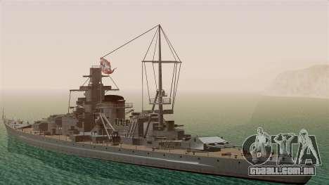 Scharnhorst Battleship para GTA San Andreas traseira esquerda vista