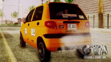 Daewoo Matiz Taxi para GTA San Andreas esquerda vista
