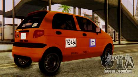 Daewoo Matiz Taxi para GTA San Andreas traseira esquerda vista