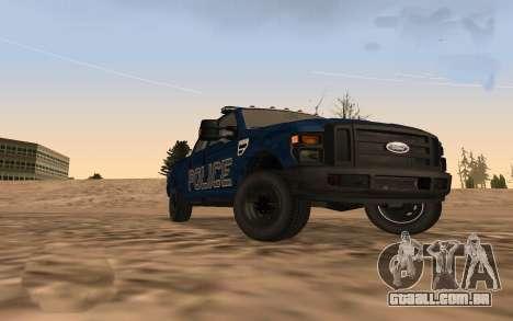 Ford F-250 Incident Response para GTA San Andreas traseira esquerda vista
