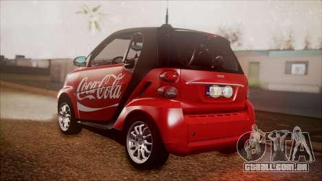 Smart ForTwo Coca-Cola Worker para GTA San Andreas esquerda vista