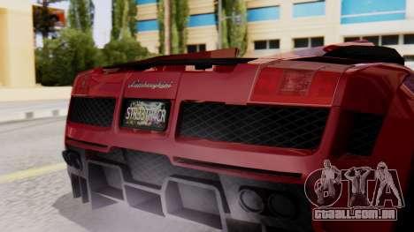 Lamborghini Gallardo J Style para GTA San Andreas vista traseira