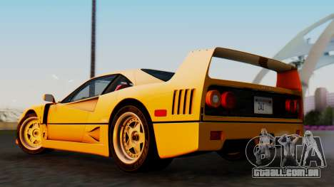 Ferrari F40 1987 without Up Lights para GTA San Andreas esquerda vista