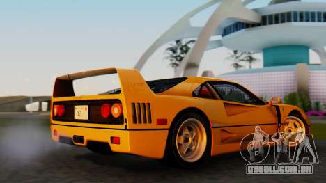 Ferrari F40 1987 without Up Lights para GTA San Andreas traseira esquerda vista