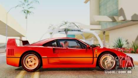 Ferrari F40 1987 with Up Lights para GTA San Andreas traseira esquerda vista