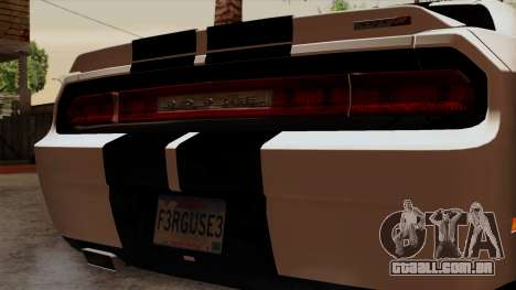 Dodge Challenger SRT8 392 2012 Stock Version 1.0 para GTA San Andreas vista traseira