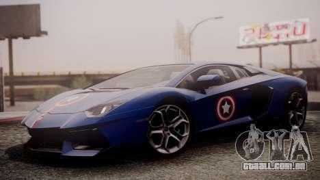 Lamborghini Aventador LP 700-4 Captain America para GTA San Andreas traseira esquerda vista