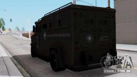 GTA 5 Enforcer S.W.A.T. para GTA San Andreas esquerda vista