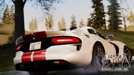 Dodge Viper SRT GTS 2013 IVF (MQ PJ) HQ Dirt para GTA San Andreas vista traseira