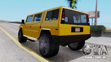 GTA 5 Patriot para GTA San Andreas esquerda vista