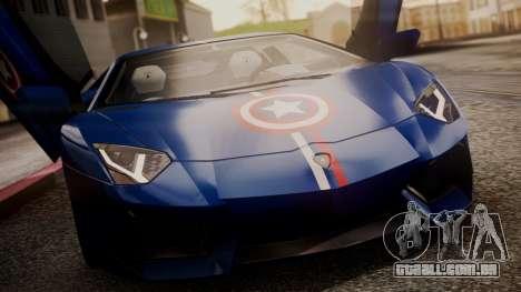Lamborghini Aventador LP 700-4 Captain America para GTA San Andreas vista inferior