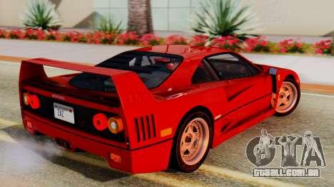 Ferrari F40 1987 with Up Lights para GTA San Andreas esquerda vista
