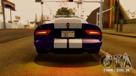 Dodge Viper SRT GTS 2013 IVF (HQ PJ) HQ Dirt para GTA San Andreas vista traseira