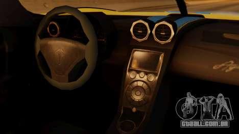 Koenigsegg Agera 2011 para GTA San Andreas vista direita