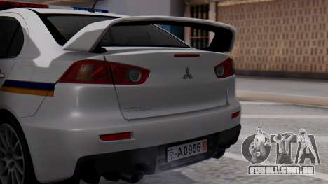 Mitsubishi Lancer Evo X Chinese Police para GTA San Andreas vista traseira