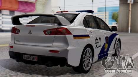 Mitsubishi Lancer Evo X Chinese Police para GTA San Andreas esquerda vista