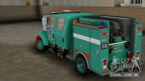 SACFR International Type 3 Rescue Engine para GTA San Andreas traseira esquerda vista