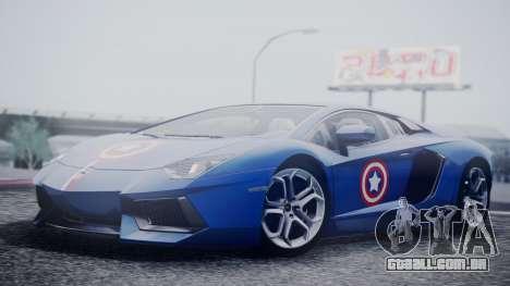 Lamborghini Aventador LP 700-4 Captain America para GTA San Andreas vista direita