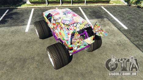 GTA 5 Vapid The Liberator Sticker Bomb v2.0f traseira vista lateral esquerda
